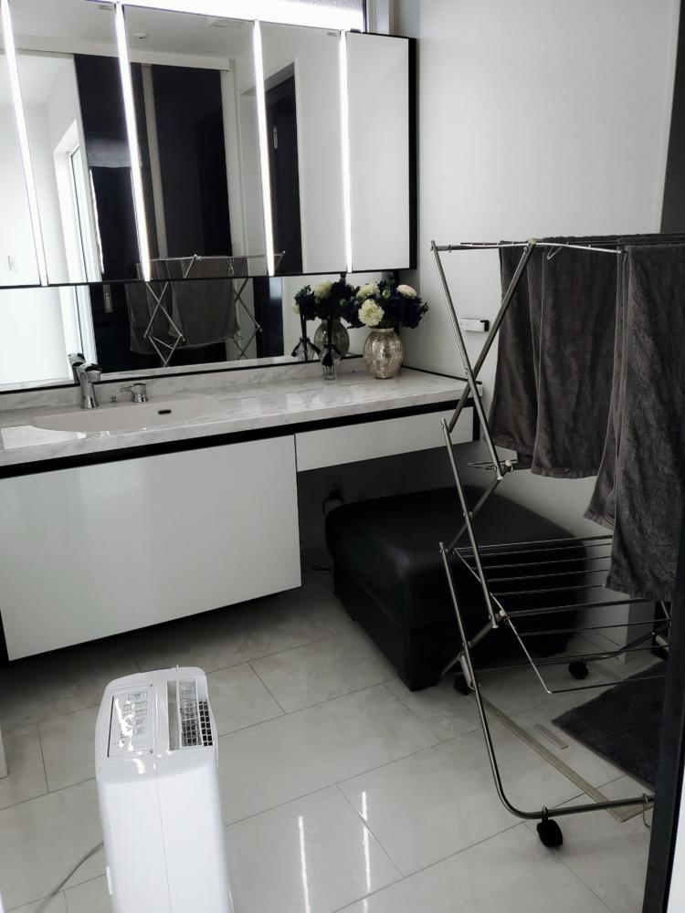 洗面所で除湿機をかけて洗濯物を乾かす