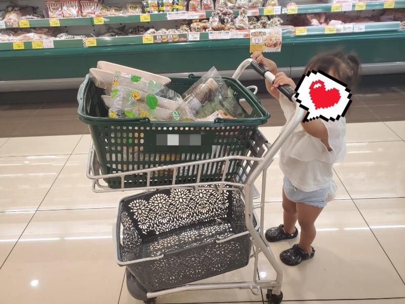 スーパーのレジカゴのカートを押してくれる娘