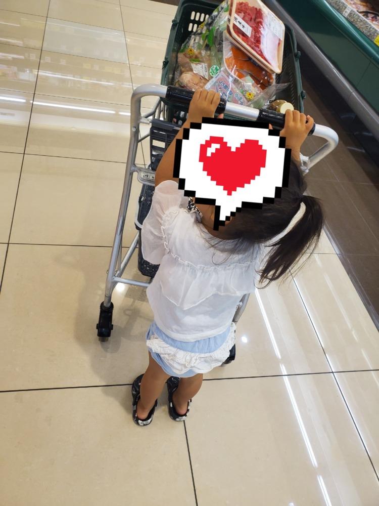 スーパーのレジカゴのカートを押す娘