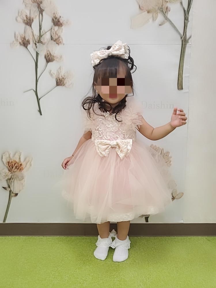 七五三前撮り写真ピンクのドレス