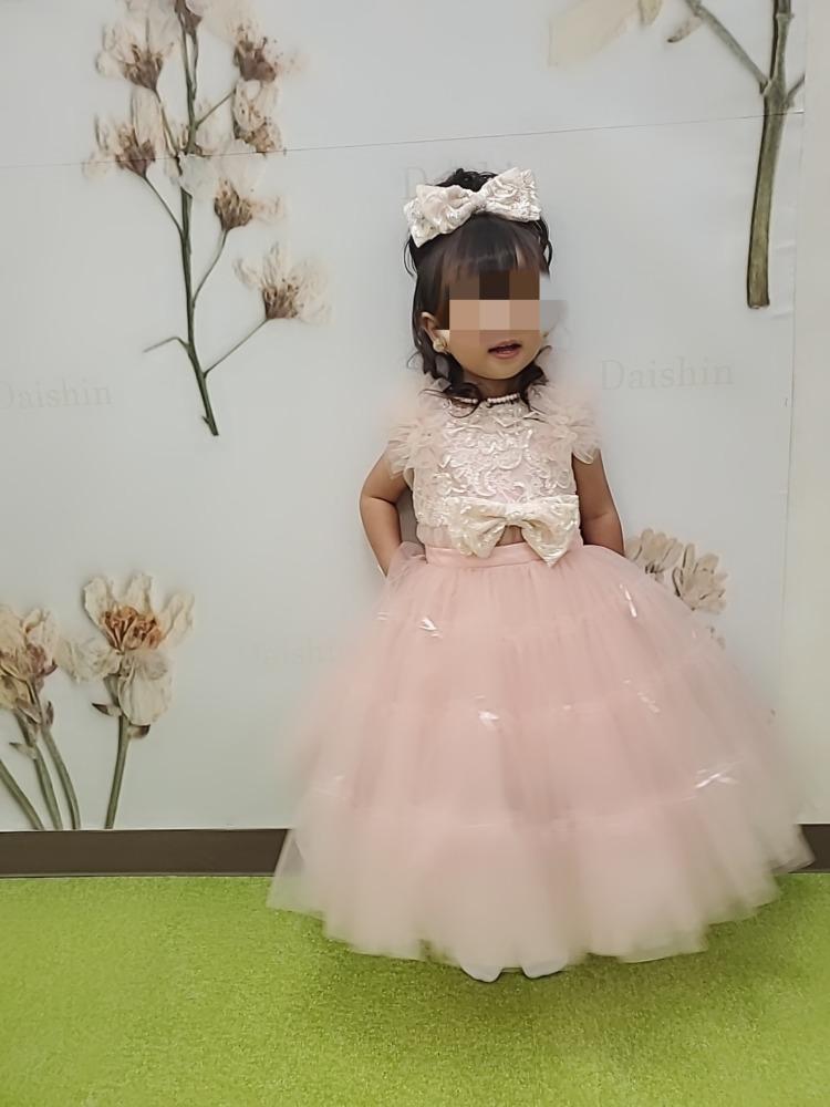3歳七五三前撮り写真ピンクのドレス
